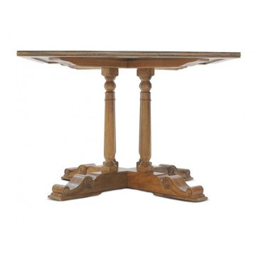 SQUARE BAR TABLE WITH FLAGSTONE TOP (HONEYCOM SATIN) A
