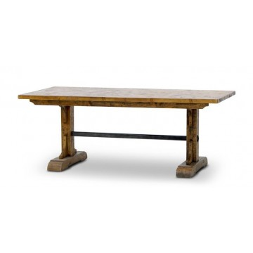TRESTLE TABLE FULL PINE ALBANY RUSTIC EXTREM & ANTIQUE IRON