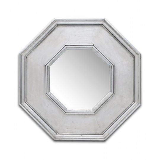 OCTAGONAL MIRROR (ANTIQUE SILVER LEAF)