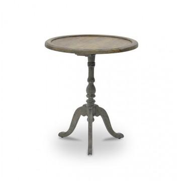 TRIPOD ROUND TABLE KD ( SALVAGE GREY REDUCE WITH - MALIBU GREY )