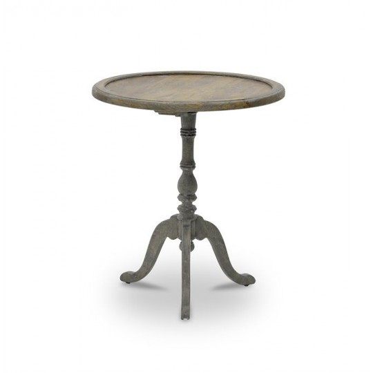 TRIPOD ROUND TABLE KD ( SALVAGE GREY REDUCE WITH - MALIBU GREY )