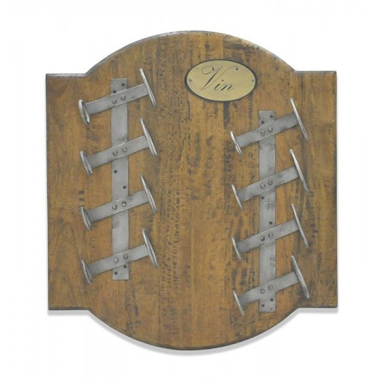 SMALL SQUARE WINE WALL RACK 8 BOTTLES ( COFFE BROWN RUSTIC EXTREME - ANTIQUE IRON )