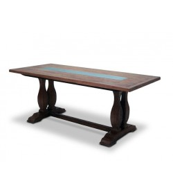 CARMAGUE DOUBLE PEDESTAL DINING TABLE WITH TIN FILLED TOP