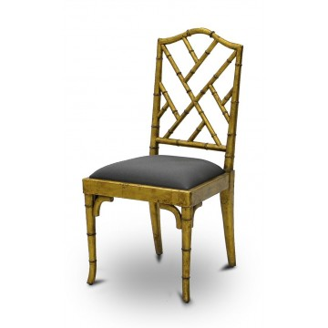 CHAIR SIDE CHINOISE UPHOLSTERED ( ANTIQUE GOLD GLAZE )