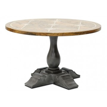 BRIONNE ROUND TBL 1200 FAUX SLATE TOP (TOP SH RUSTIC LIGHT + FAUX SLATE - BASE SLATE GREY)