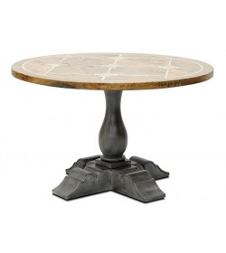 BRIONNE ROUND DINING TABLE 1200 WITH FAUX SLATE QUATREFOIL INLAY TOP