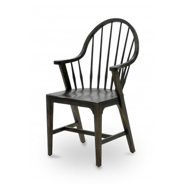 WINDSOR ARM CHAIR TAPERED LEG SEAT 20 mm ( IRON BROWN SMOOTH - BLACK RUST )