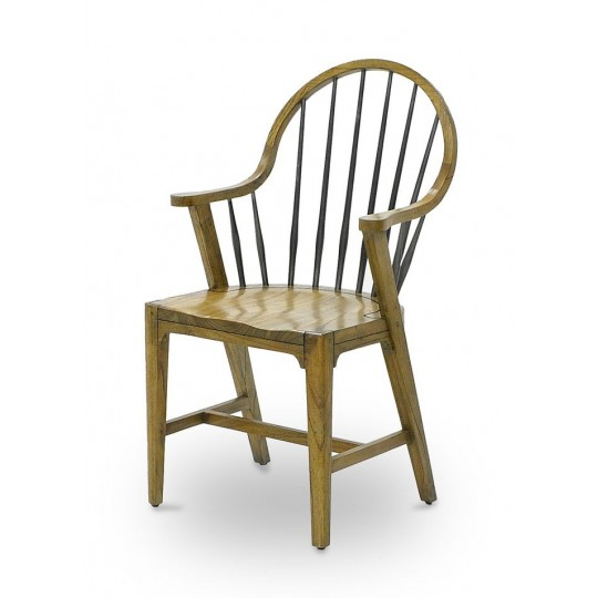 WINDSOR ARM CHAIR TAPERED LEG SEAT 30 mm ( SMOKEHOUSE RUSTIC LIGHT - GUN METAL )