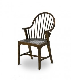 WINDSOR TAPERED LEG PERFORATED IRON SEAT ARM CHAIR