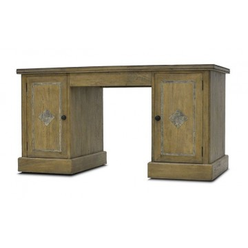 PARTNER DESK 2 DR WITH HIDE DRAWERS - DIAMOND INLAY ( VC SMPKEHOUSE DISTRESS )