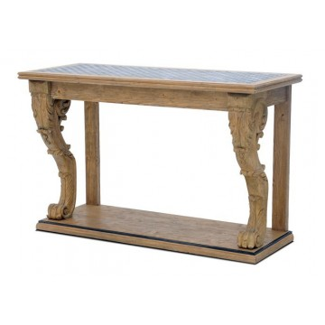 HARDY CARVED LEG CONSOLE TABLE TIN LATTICE TOP - KD (BASE SMOKEHOUSE + NATURAL IRON - TOP TIN ANTIQUE IRON)