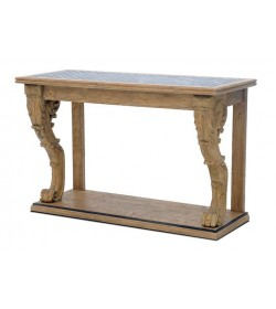 HARDY CARVED LEG CONSOLE TABLE TIN LATTICE TOP