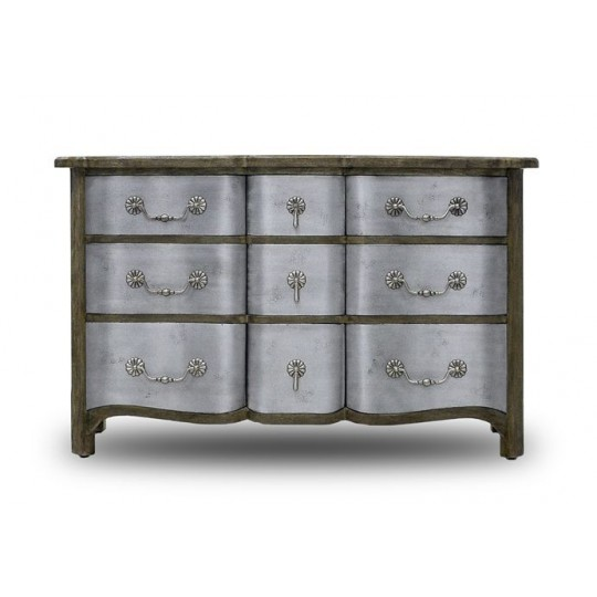 REGENCE COMODE 9 DRAWER ( DRIFTWOOD CREAM & ANTIQUE IRON )