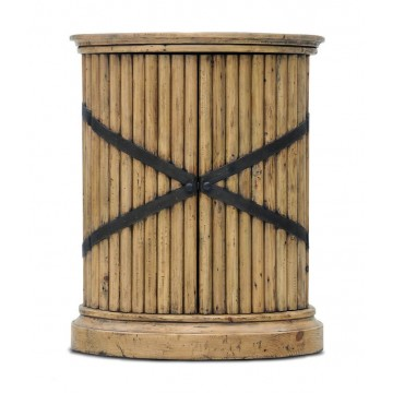 REGENCY REEDED PEDESTAL WITH BELT METAL STRAPPING (SMOKEHOUSE MD MP - NATURAL IRON)