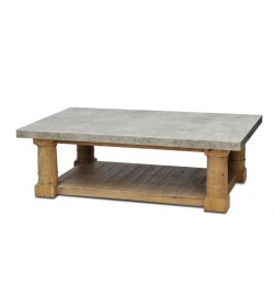 GRAND CANON LEG COFFEE TABLE WITH FAUX STONE TOP & UNDERSHELF