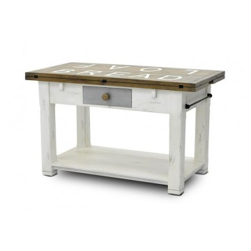 MILHOUSE FOLDOUT KITCHEN ISLAND SMOKEHOUSE RUSTIC LIGHT - RUSTIC WHITE RUB OFF
