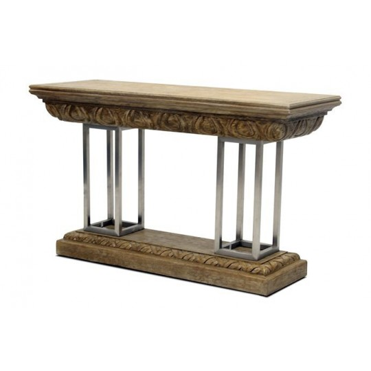LARGE CARVED CONSOLE (DRIFTWOOD CREAM)