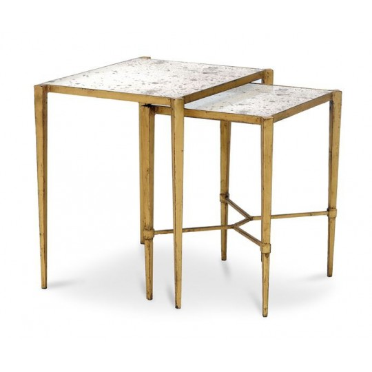 NEST TABLE (TOP ANTIQUE MIRROR - BASE ANTIQUE GOLD LEAF)