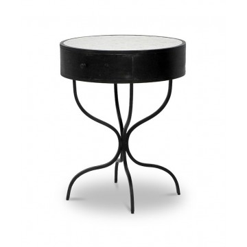 ROUND SERPENTINE LEG SIDE TABLE 1 DWR - DANAE MOSAIC ( GUN METAL )