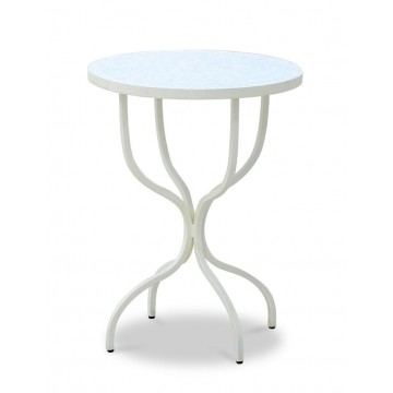 CAMILLE ROUND SIDE TABLE WITH PEARL MOSAIC TOP (BASE MAGNOLIA CREAM)