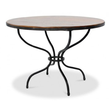 CASSEL TABLE (TOP COFFEE BROWN RUSTIC LIGHT - BASE GUN METAL)