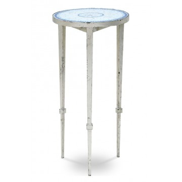 END TABLE WITH WHITE BLUE MOZAIC (SILVER LEAF)