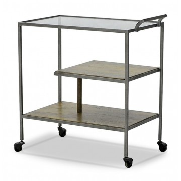 FRENCH ART DECO DRINKS TROLLEY ( SMOKEHOUSE RUSTIC MEDIUM - PEWTER ANTIQUE - GUN METAL)