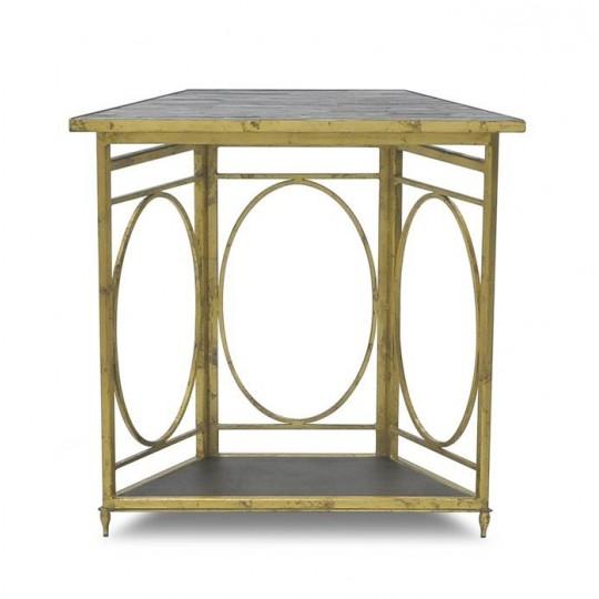 CANTED LANTERN BASE SIDE TABLE ( ANTIQUE GOLD LEAF )