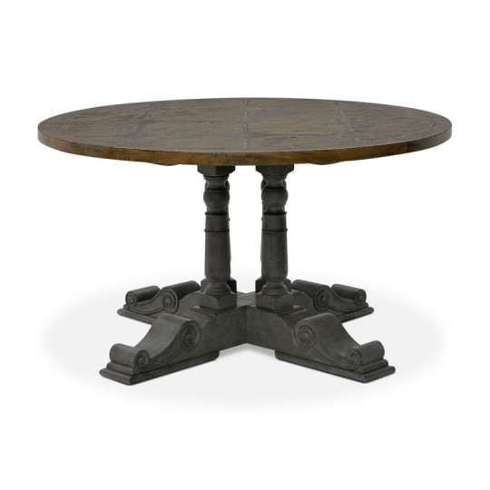 BALUSTER ROUND TABLE 1370 BRIONNE TOP ( SMOKEHOUSE RUSTIC LIGHT - FAUX SLATE - SLATE GREY ) B