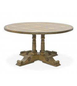 BALUSTER ROUND DINING TABLE WITH FLAGSTONE TOP