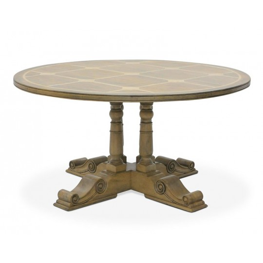 BALUSTER ROUND DINING TABLE ( HONEYCOMB SATIN ) A