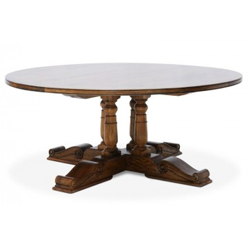 BALUSTER ROUND DINING TABLE WITH STAR REBATE (HONEYCOMB SATIN)-B