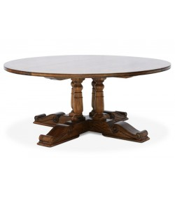 BALUSTER ROUND DINING TABLE WITH STAR INLAY
