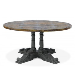 BALUSTER ROUND DINING TABLE WITH BRIONNE TOP 1500