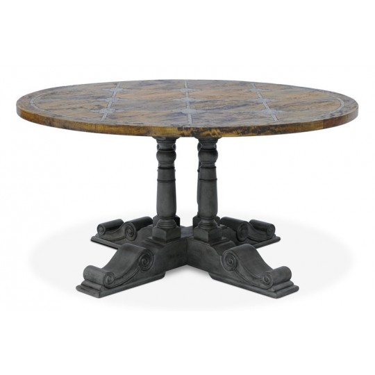 BALUSTER ROUND TABLE 1500 BRIONNE TOP ( SMOKEHOUSE RUSTIC MEDIUM - FAUX SLATE - SLATE GREY) A