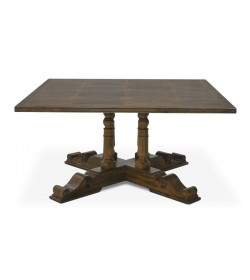 BALUSTER SQUARE DINING TABLE WITH FLAGSTONE TOP