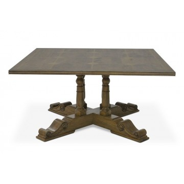 SQUARE TABLE WITH FLAGSTONE TOP (DRIFTWOOD) A