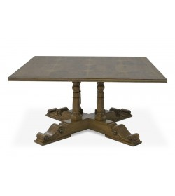 BALUSTER SQUARE TABLE WITH FLAGSTONE TOP