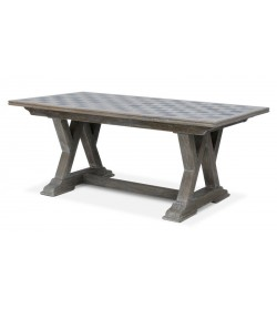 W LEG TRESTLEBASE DINING TABLE WITH BLACK STONE INLAY TOP