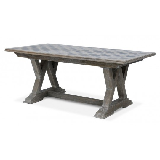 W LEG TABLE WITH  BLACK STONE INLAY KD (ABC GREY)