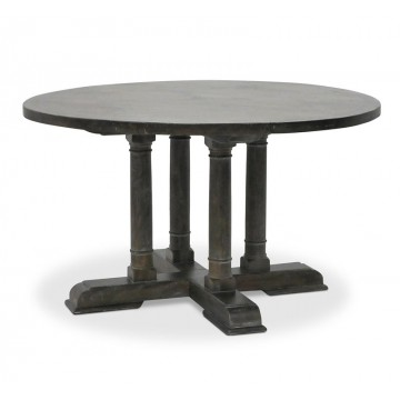 ROUND DINING TABLE BRIONNE INLAY TOP ( TAUPE BROWN LIGHT RUSTIC MEDIUM )
