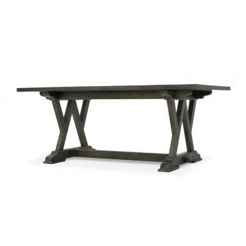 W LEG DINING TABLE BRIONNE TOP INLAY 1930 ( TAUPE BROWN LIGHT RUSTIC MEDIUM )