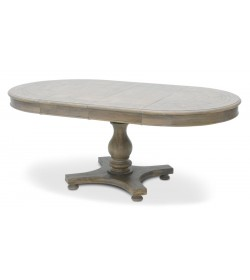 SYLVESTER ROUND EXTENDING DINING TABLE  PEDESTAL BASE